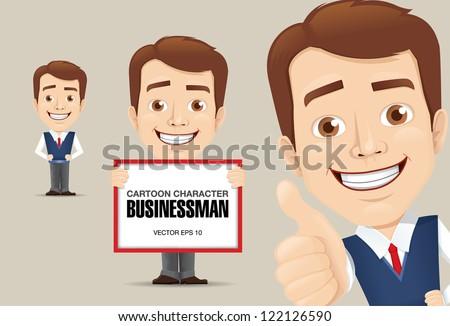 Vector illustration of Businessman Cartoon Character - stock vector
