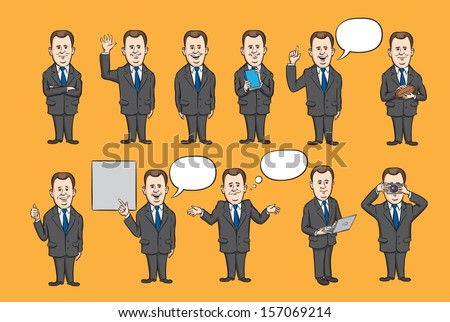 Vector illustration of businessman figures dressed in suit collection. Easy-edit layered vector EPS10 file scalable to any size without quality loss. High resolution raster JPG file is included. - stock vector