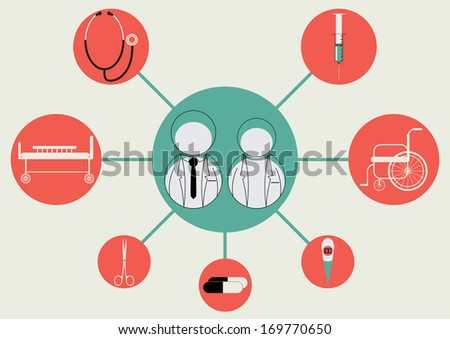 Vector illustration of Businessman, icon, doctor,Medical  - stock vector