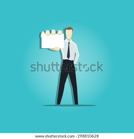 Vector illustration of businessman is showing a business card - stock vector