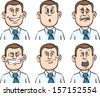 Vector illustration of businessman many faces emotions. Easy-edit layered vector EPS10 file scalable to any size without quality loss. High resolution raster JPG file is included. - stock vector