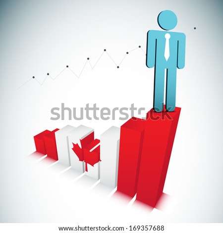 Vector illustration of businessman on Canadian graph. EPS10 file. Contains blending mode.  - stock vector