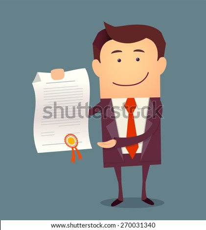 Vector illustration of businessman proudly standing and showing a diploma. Flat style - stock vector