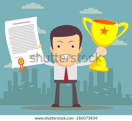 Vector illustration of businessman proudly standing holding up winning trophy and showing an award certificate. Flat style - stock vector