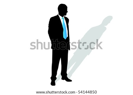 Vector illustration of businessman's silhouette and his shadow - stock vector