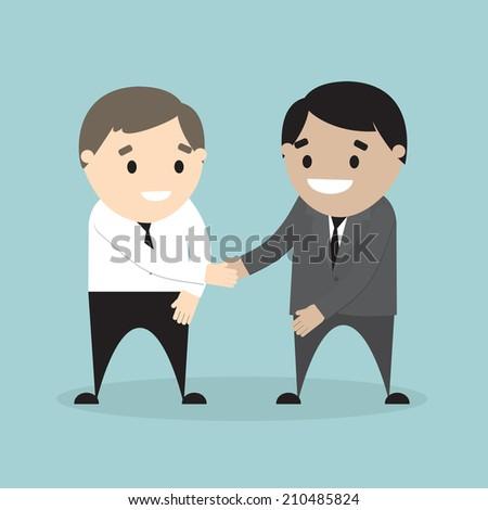 Vector illustration of  businessman shaking hands. Concept of partnership. Flat design - stock vector