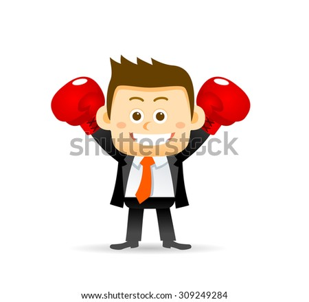 Vector illustration of businessman with boxing gloves.  - stock vector