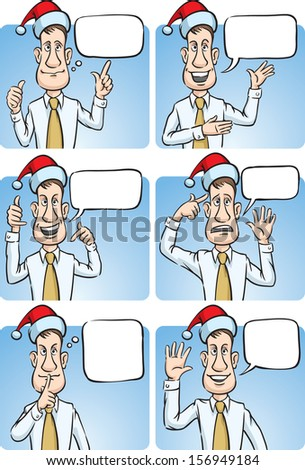 Vector illustration of businessman with sign language in santa hat. Easy-edit layered vector EPS10 file scalable to any size without quality loss. High resolution raster JPG file is included. - stock vector