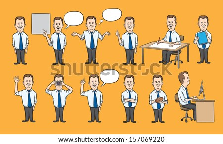 Vector illustration of businessman working figures collection. Easy-edit layered vector EPS10 file scalable to any size without quality loss. High resolution raster JPG file is included. - stock vector