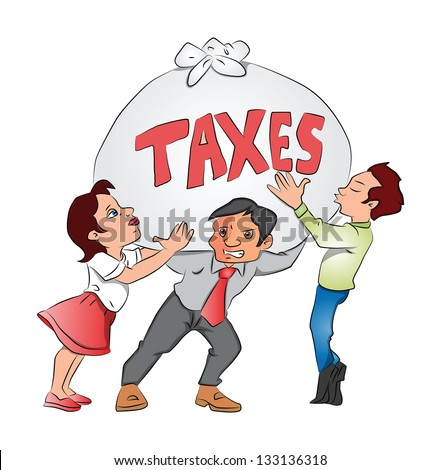 Vector illustration of businessmen and businesswoman holding an overweight sack of taxes. - stock vector