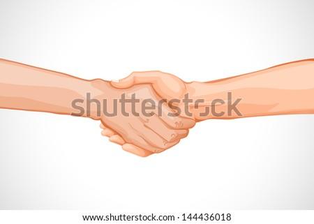vector illustration of businesspeople handshaking against white background - stock vector