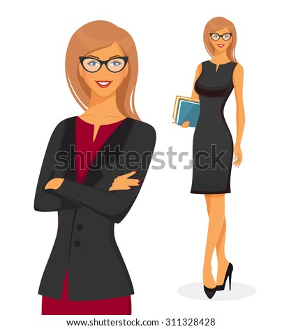 Vector illustration of Businesswoman in red dress - stock vector