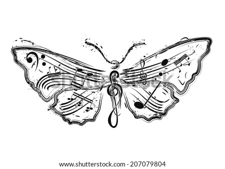 vector illustration of butterfly made from musical notes - stock vector