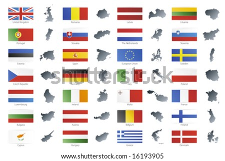 Vector illustration of button flags of the 27 members of the European Union as of 2008 plus NATO and the EU. Coupled with national maps. - stock vector