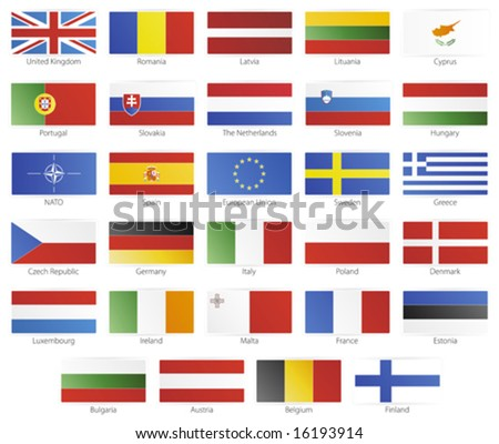 Vector illustration of button flags of the 27 members of the European Union as of 2008 plus NATO and the EU. With slick icon borders. - stock vector