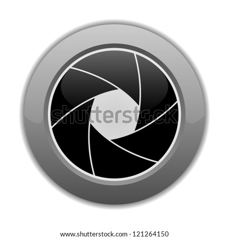 Vector illustration of button with camera shutter image on it, isolated on white background - stock vector
