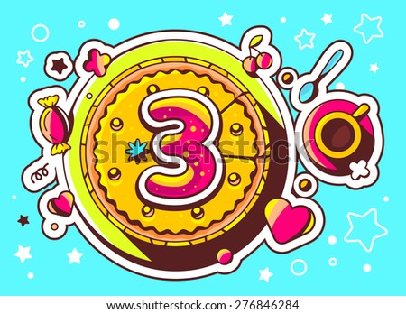 Vector illustration of cake with sweets and cup of tea with number three on blue background with star. Hand drawn line art design for web, site, advertising, banner, poster, board and print.   - stock vector