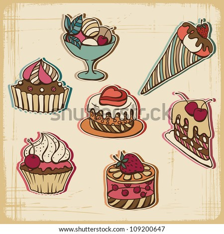 Vector illustration of cakes in retro style. Vintage design.
