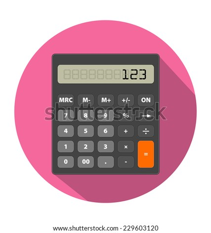 Vector illustration of Calculator image in flat style - stock vector