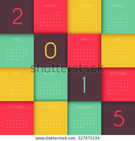 Vector illustration of Calendar for 2015 year - stock vector