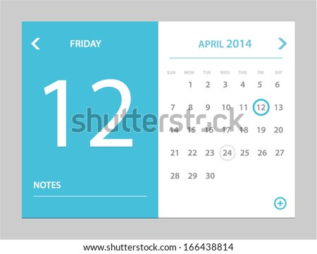 Vector illustration of calendar in flat style - stock vector