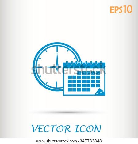 Vector illustration of calendar with clock  - stock vector