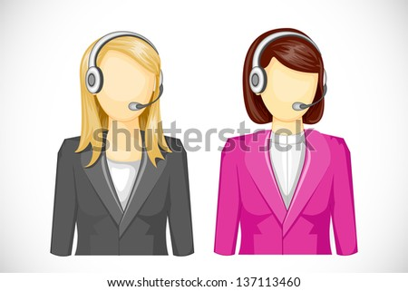 vector illustration of call center woman icon - stock vector