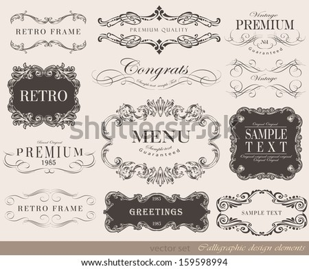 Vector illustration of calligraphic element/ old style/ retro vintage - stock vector