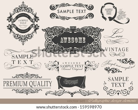 Vector illustration of calligraphic elements and page decoration/ retro vintage frame - stock vector
