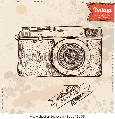 Vector illustration of camera hand draw on vintage paper background, cute label - stock vector