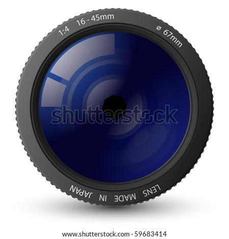 Vector illustration of camera lens - stock vector