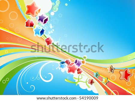 Vector illustration of Candy lines abstract background with funny colorful Stars - great for greeting and birthday postcards, flyers and many more celebration items