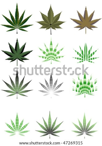 Vector illustration of cannabis leaf in different styles - stock vector
