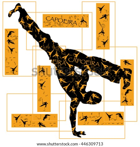 Vector illustration of capoeira dancer. Black and yellow colors.