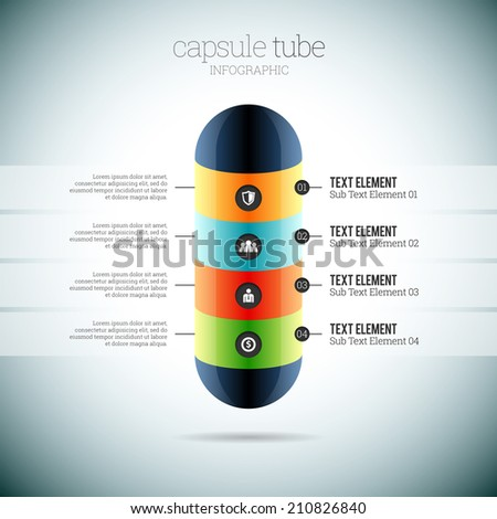 Vector illustration of capsule tube infographic elements. - stock vector