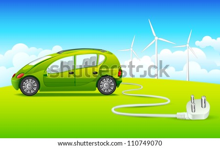 vector illustration of car connected with windmill through electric plug - stock vector