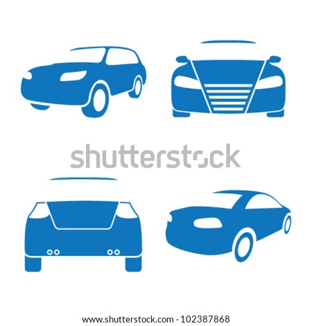Vector illustration of car icons on a white background - stock vector