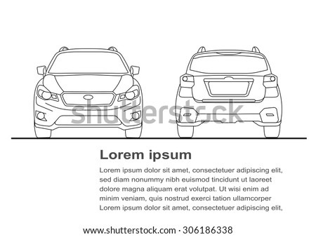 Vector illustration of car line art - stock vector