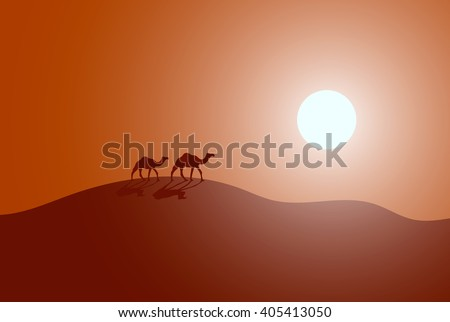 Vector illustration of caravan in a desert. Modern design - stock vector