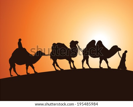 vector illustration of caravan of bactrian camels and bedouins in egyptian desert