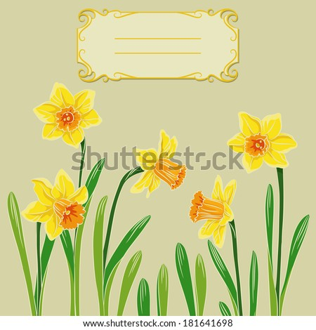 Vector illustration of card with easter pastel daffodil in center and frame - stock vector