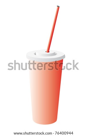 vector illustration of cardboard glass with milk cocktail