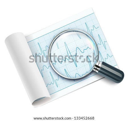 Vector illustration of cardiogram under magnifying glass - stock vector