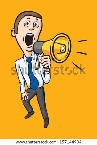 Vector illustration of Caricature businessman with megaphone. Easy-edit layered vector EPS10 file scalable to any size without quality loss. High resolution raster JPG file is included. - stock vector