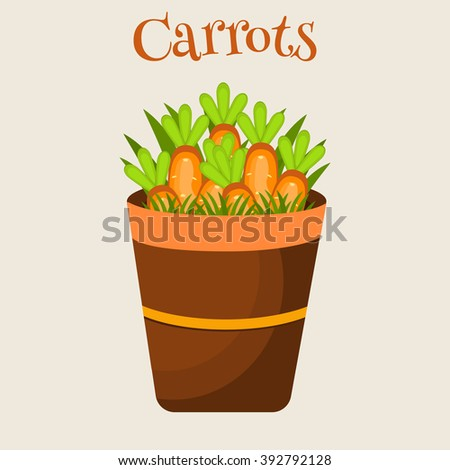 Vector illustration of carrot in a pot vegetarian ripe fresh ingredient. Sliced carrots. Pieces of carrots in a pot food, healthy orange carrots in a pot cartoon flat vector illustration. - stock vector