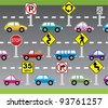 vector illustration of cars and road signs - stock vector