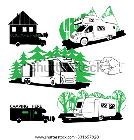 Vector Illustration Of Cars Recreational Vehicles Camper Vans Caravans Icons Car Trailer Doodle Objects