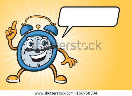 Vector illustration of cartoon alarm clock character with speech balloon. Easy-edit layered vector EPS10 file scalable to any size without quality loss. High resolution raster JPG file is included. - stock vector
