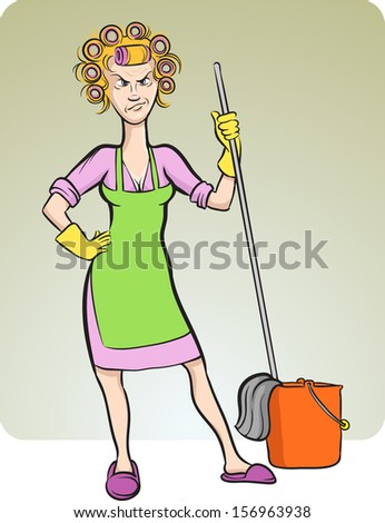 Vector illustration of cartoon angry housewife. Easy-edit layered vector EPS10 file scalable to any size without quality loss. High resolution raster JPG file is included. - stock vector