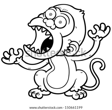 Vector Illustration Cartoon Angry Monkey Coloring Stock Vector ...